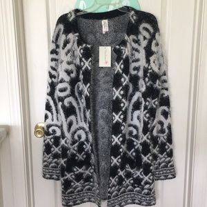Pinklicious long, open front, black/white cardigan